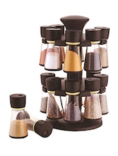 Brown Revolving Spice Rack With Set of 16 Jar -  online shopping for Spice Racks