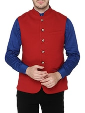 solid red rayon nehru jacket -  online shopping for Nehru Jacket
