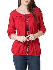 red cotton blouson top -  online shopping for Tops