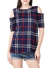 navy blue checkered crepe regular top -  online shopping for Tops