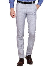 grey linen blend formal trouser -  online shopping for Formal Trousers