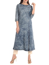 blue denim A-line kurta -  online shopping for kurtas