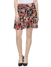 multicolored floral printed viscose flared skirt -  online shopping for Skirts