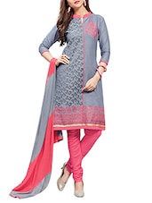 grey cotton churidaar suits dress material -  online shopping for Dress Material