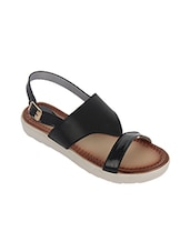 black faux leather back strap sandals -  online shopping for sandals