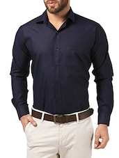 navy blue cotton formal shirt -  online shopping for formal shirts
