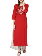 Maroon Rayon Long  Kurta - By