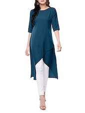 Turquoise Crepe Highlow Kurta - By