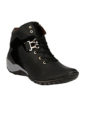 black leatherette low ankle boot -  online shopping for Boots