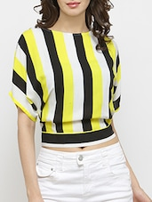 yellow viscose crop top -  online shopping for Tops