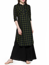 Green Rayon Highlow Kurta - By