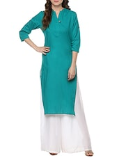 Turquoise Cotton Straight Kurta - By