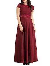 maroon crepe maxi gown -  online shopping for Dresses