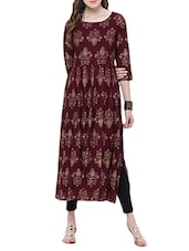 Maroon Rayon Flared Kurta - By
