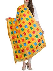 Yellow Poly Chiffon Phulkari Dupatta - By