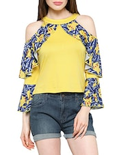 yellow printed cotton top -  online shopping for Tops