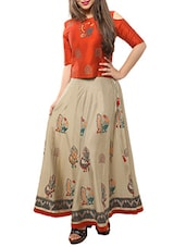 red top with beige skirt set -  online shopping for Sets