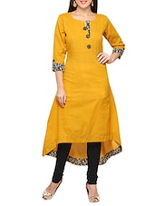 Mustard Cotton Highlow Kurta - By