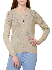 beige wool cardigan -  online shopping for Cardigans