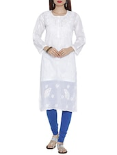 Ada White Cotton Chikankari Kurta - By