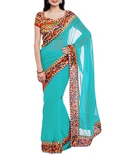 blue bordered saree -  online shopping for Sarees
