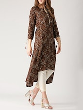Brown Cotton High-low Kurta - By