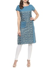 Blue Cotton Straight Kurta With Pockets - By