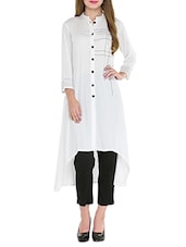 White Rayon Highlow Kurta - By