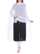 White Poly Chiffon Plain Dupatta - By