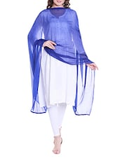 Blue Poly Chiffon Plain Dupatta - By