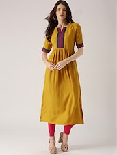 Mustard  Rayon Straight Kurta - By
