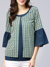 navy blue cotton casual top -  online shopping for Tops