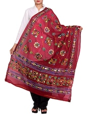 Maroon Cotton Embroidered Dupatta - By