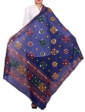 Blue Cotton Embroidered Dupatta - By
