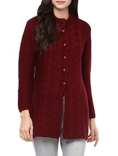 Maroon woollen cardigan -  online shopping for Cardigans