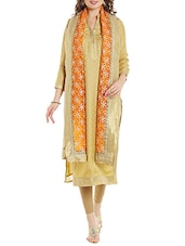 Orange Net Embroidered Dupatta - By
