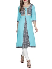 Sky Blue Poly Cotton Straight Kurta - By
