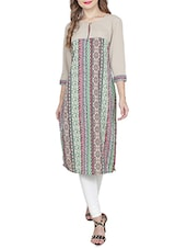 Multi Colored Poly Cotton Straight Kurta - By