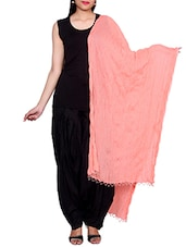 Peach Chiffon Plain Dupatta - By