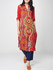Global Desi Red Viscose Straight Kurta - By