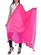 Pink Chiffon Plain Dupatta - By