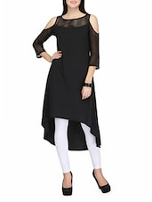 Black Poly Crepe Highlow Kurta - By