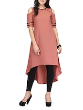 Pink Poly Crepe Highlow Kurta - By