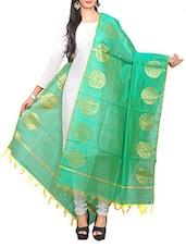 Green Chanderi Dupatta - By