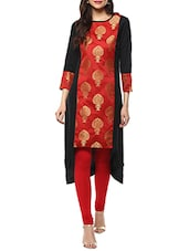 Red Poly Crepe Highlow Kurta - By