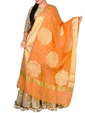 Orange Dupion Banarasi Dupatta - By