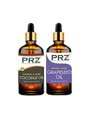 PRZ Combo Of Extra Virgin Coconut Oil & Grapeseed Oil For Hair Growth, Skin Care (Each 15ML ) - By