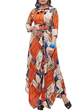 Orange Rayon Highlow Kurta - By