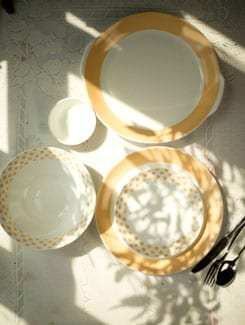Classic Border and Polka Dot 21 Piece Dinner Set - Bharat Pottery