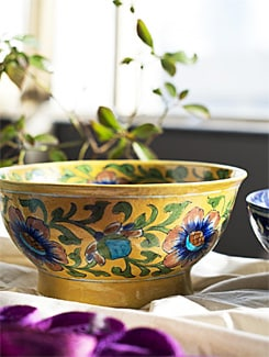 Big Floral Bowl - Jaipur blue pottery